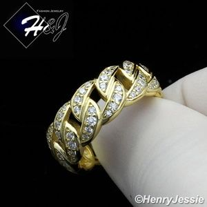 925 STERLING SILVER ICY GOLD CURB LINK RING*GR128